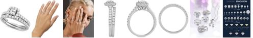 Macy's Star Signature Diamond Princess Cut Halo Bridal Set (1-1/2 ct. t.w.) in 14k White or Yellow Gold