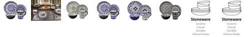 Lorren Home Trends Bimini Collection 16 Piece Beaded Stoneware Set