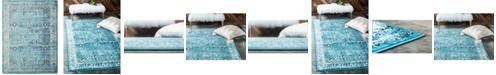 Bridgeport Home Linport Lin1 Turquoise/Ivory 10' x 13' Area Rug