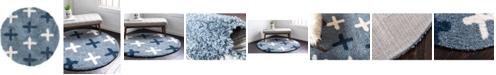 """Bridgeport Home Lochcort Shag Loc7 Blue 3' 3"""" x 3' 3"""" Round Area Rug"""
