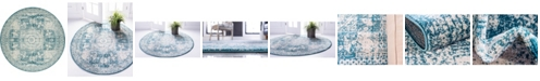 Bridgeport Home Mobley Mob2 Turquoise 8' x 8' Round Area Rug