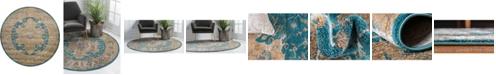 Bridgeport Home Aroa Aro1 Teal 6' x 6' Round Area Rug