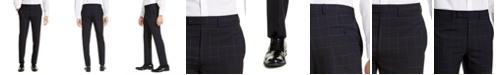 Calvin Klein Men's X-Fit Extra-Slim Fit Infinite Stretch Navy Blue Windowpane Suit Pants