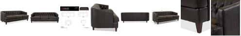 "Macy's Austian 88"" Leather Sofa, Created for Macy's"
