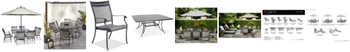 "Furniture Vintage II Outdoor Cast Aluminum 9-Pc. Dining Set (64"" x 64"" Table & 8 Sling Dining Chairs), Created for Macy's"