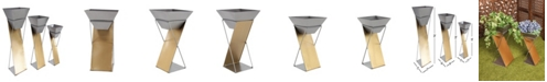 Rosemary Lane Set of 3 Modern Inverted Trapezoid Metal Planters