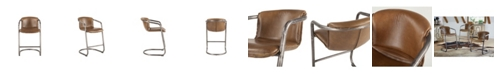 World Interiors Chiavari Distressed Leather Counter Chairs, Set of 2