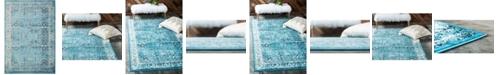 "Bridgeport Home Linport Lin1 Turquoise/Ivory 8' x 11' 6"" Area Rug"