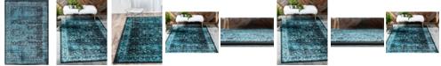 Bridgeport Home Linport Lin1 Turquoise/Black 4' x 6' Area Rug