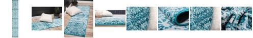 Bridgeport Home Basha Bas4 Turquoise 2' x 13' Runner Area Rug