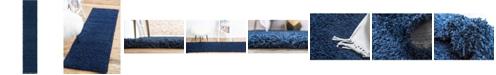 "Bridgeport Home Exact Shag Exs1 Navy Blue 2' 6"" x 13' Runner Area Rug"