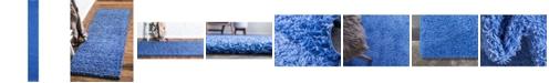 "Bridgeport Home Exact Shag Exs1 Periwinkle Blue 2' 6"" x 19' 8"" Runner Area Rug"