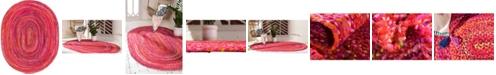 Bridgeport Home Roari Cotton Braids Rcb1 Red 8' x 10' Oval Area Rug