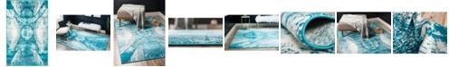"""Bridgeport Home Basha Bas3 Turquoise 3' 3"""" x 5' 3"""" Area Rug"""