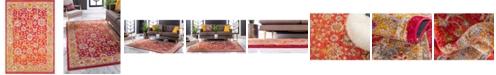 """Bridgeport Home Lorem Lor3 Red 5' 3"""" x 7' 7"""" Area Rug"""