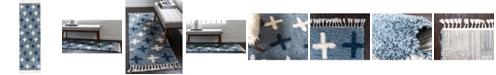 """Bridgeport Home Lochcort Shag Loc7 Blue 2' 7"""" x 8' 2"""" Runner Area Rug"""