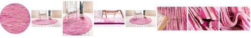 Bridgeport Home Jari Striped Jar1 Pink 8' x 8' Round Area Rug