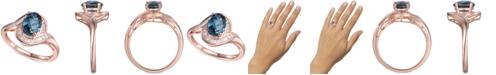 Macy's London Blue Topaz (1-3/8 ct. t.w.) & Diamond (1/4 ct. t.w.) Swirl Ring in 14k Rose Gold