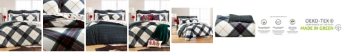 Martha Stewart Collection Winter Plaid Flannel Full/Queen Duvet Cover, Created for Macy's