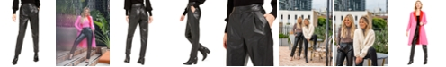 Bar III Becca Tilley x Pleated Faux-Leather Pants, Created For Macy's