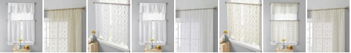 """HLC.me Lumino by Melbourne Floral Sheer Lace Voile Rod Pocket Café Tiers - 30"""" x 24"""" / Set of 2 Tiers"""