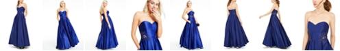 Blondie Nites Juniors' Strapless Sweetheart Appliqué Gown