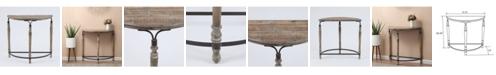 Luxen Home Wood Rustic Half Moon Table