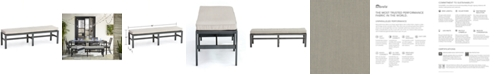 Furniture Marlough II Aluminum Armless Dining Bench with Sunbrella Cushion, Created for Macy's
