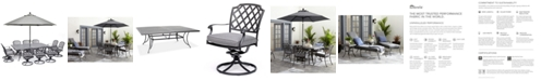 """Furniture Grove Hill II Outdoor Cast Aluminum 11-Pc. Dining Set (84"""" X 60"""" Table & 10 Swivel Chairs) With Sunbrella® Cushions, Created for Macy's"""
