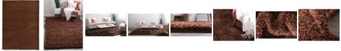 Bridgeport Home Exact Shag Exs1 Chocolate Brown 7' x 10' Area Rug