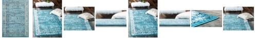 Bridgeport Home Linport Lin1 Turquoise/Ivory 7' x 10' Area Rug