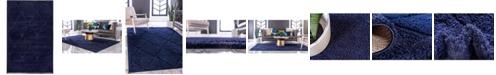 Bridgeport Home Filigree Shag Fil1 Navy Blue 5' x 8' Area Rug