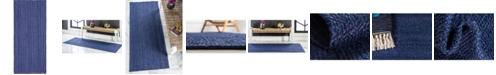 "Bridgeport Home Braided Jute B Bjb5 Navy Blue 2' 6"" x 6' Runner Area Rug"