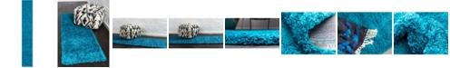 "Bridgeport Home Exact Shag Exs1 Turquoise 2' 6"" x 16' 5"" Runner Area Rug"
