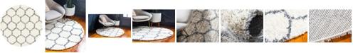 Bridgeport Home Lochcort Shag Loc1 Ivory 5' x 5' Round Area Rug