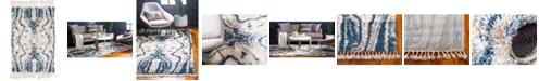 "Bridgeport Home Lochcort Shag Loc4 Blue 2' 2"" x 3' Area Rug"