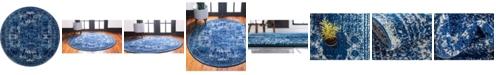Bridgeport Home Mobley Mob2 Navy Blue 5' x 5' Round Area Rug