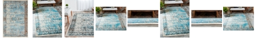 Bridgeport Home Linport Lin1 Ivory/Turquoise 4' x 6' Area Rug