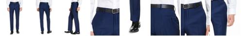 A|X Armani Exchange Men's Modern-Fit High Blue Pindot Wool Suit Pants
