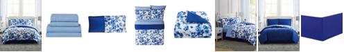 Pem America Blue Watercolor Floral Twin 6PC Comforter Set
