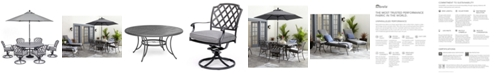 """Furniture Grove Hill II Outdoor Cast Aluminum 7-Pc. Dining Set (61"""" Round Table & 6 Swivel Chairs) With Sunbrella® Cushions, Created for Macy's"""
