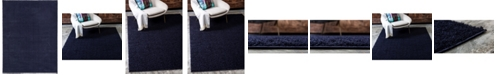 Bridgeport Home Salon Solid Shag Sss1 Midnight Blue 9' x 12' Area Rug