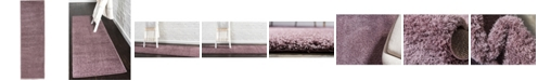 "Bridgeport Home Salon Solid Shag Sss1 Mauve 2' x 6' 7"" Runner Area Rug"