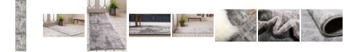 "Bridgeport Home Basha Bas6 Dark Gray 2' x 9' 10"" Runner Area Rug"