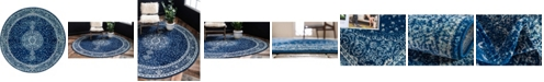 Bridgeport Home Mobley Mob1 Navy Blue 5' x 5' Round Area Rug