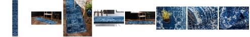 Bridgeport Home Mobley Mob2 Navy Blue 2' x 13' Runner Area Rug