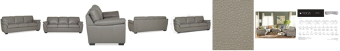"""Furniture Lothan 87"""" Leather Sofa with 3 Cushions, Created for Macy's"""