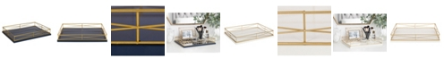 """Kate and Laurel Mendel Rectangle Tray with Decorative Metal Rim - 12"""" x 16.5"""""""