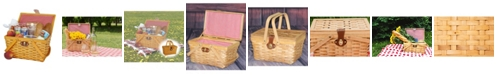 Vintiquewise Picnic Basket Gingham Lined with Folding Handles