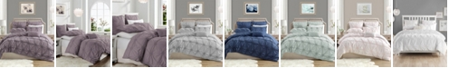 Cathay Home Inc. Charming Ruched Rosette Duvet Cover Set - King/Cal King